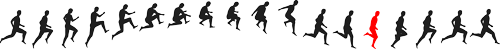 small man in run and jump sequence